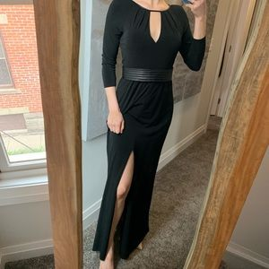 Ann Taylor Black Floor Length Keyhole Slit Gown